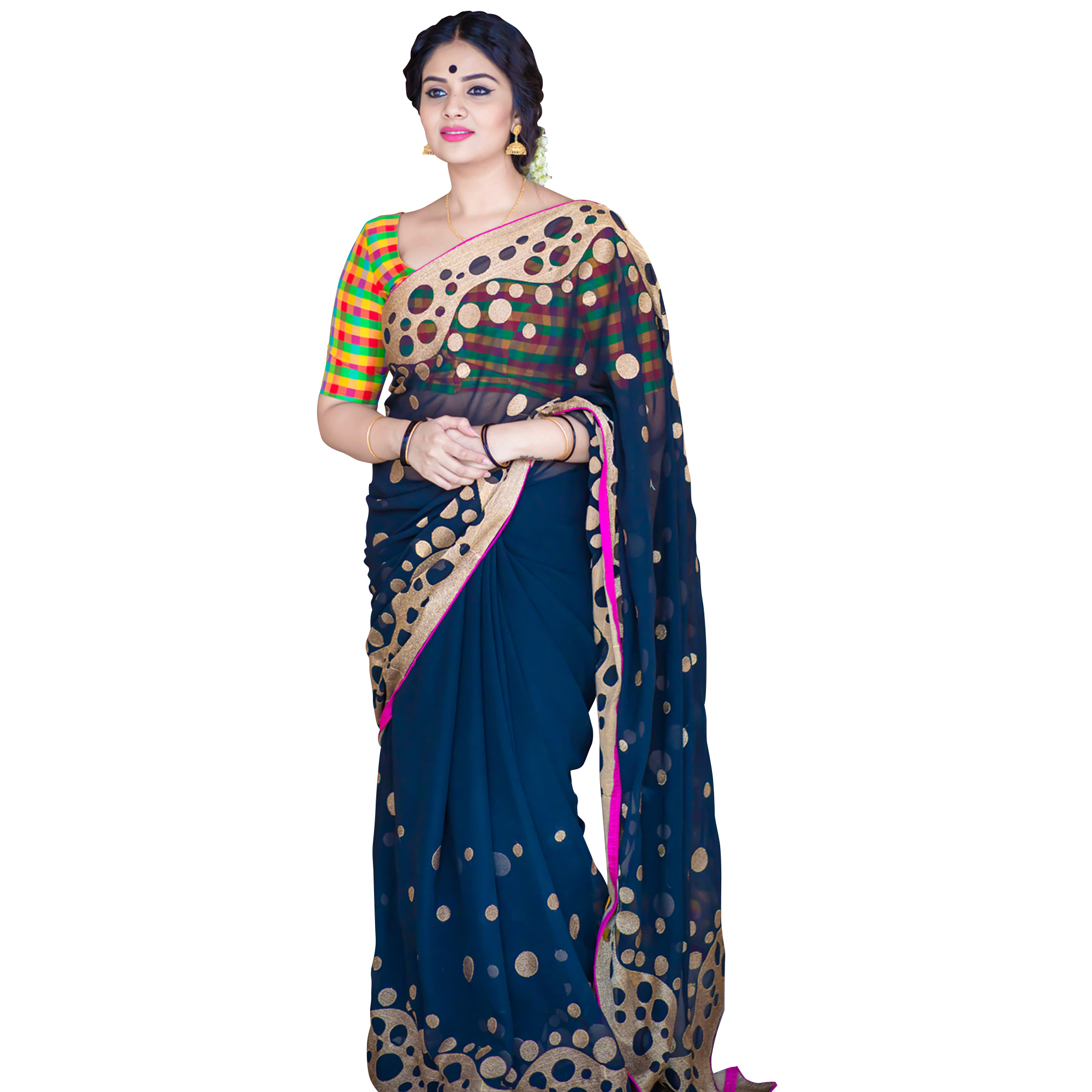 Gleaming Navy Blue Colored Partywear Embroidered Georgette Saree