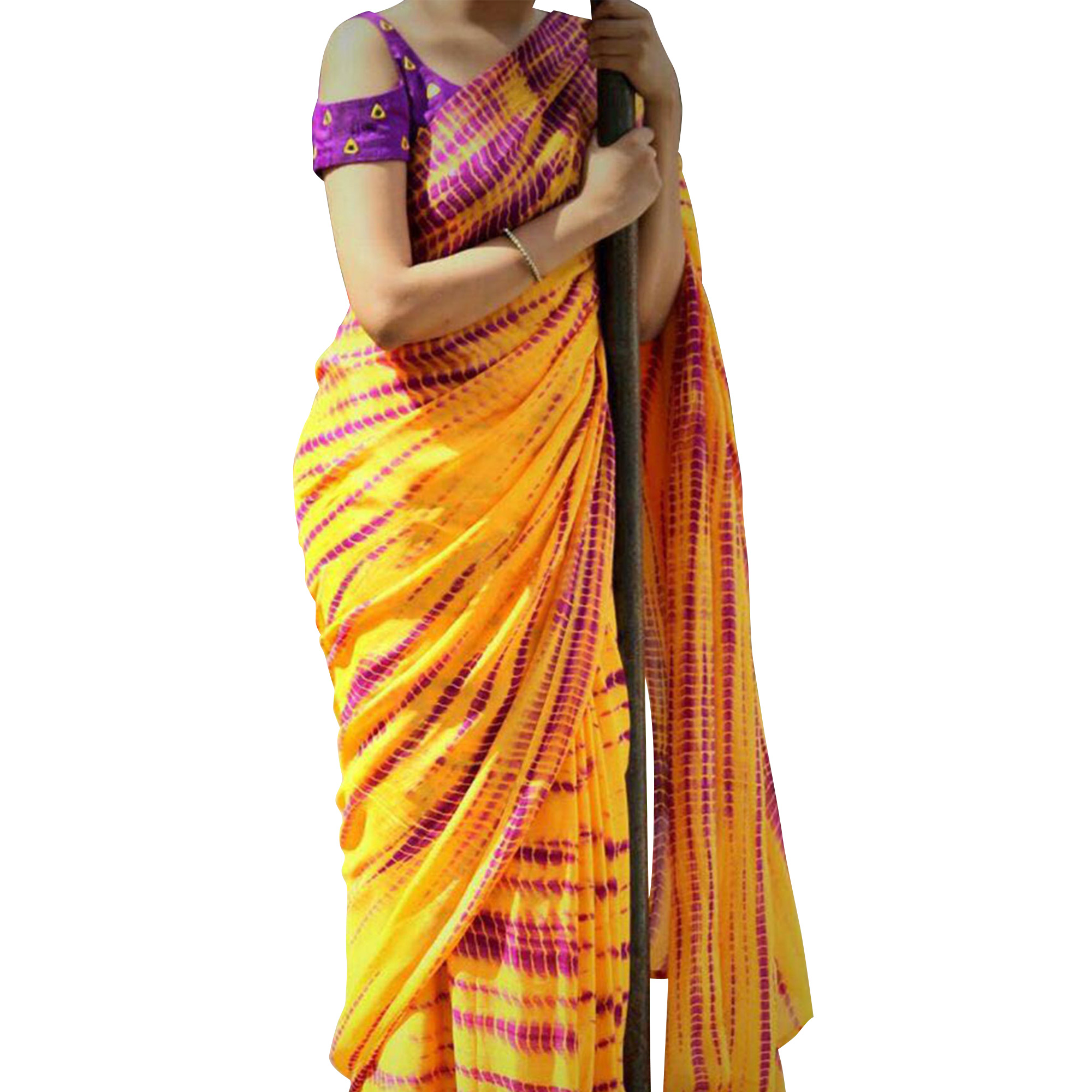 Exceptional Yellow Colored Shibori Printed Georgette Saree