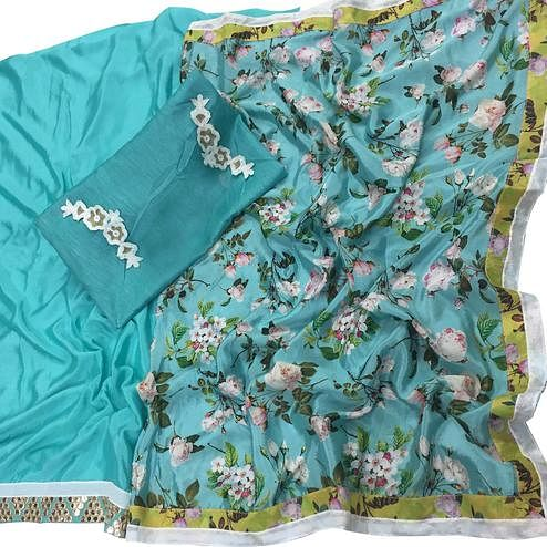 Lovely Sky Blue Colored Casual Printed Art Silk Half-Half Saree