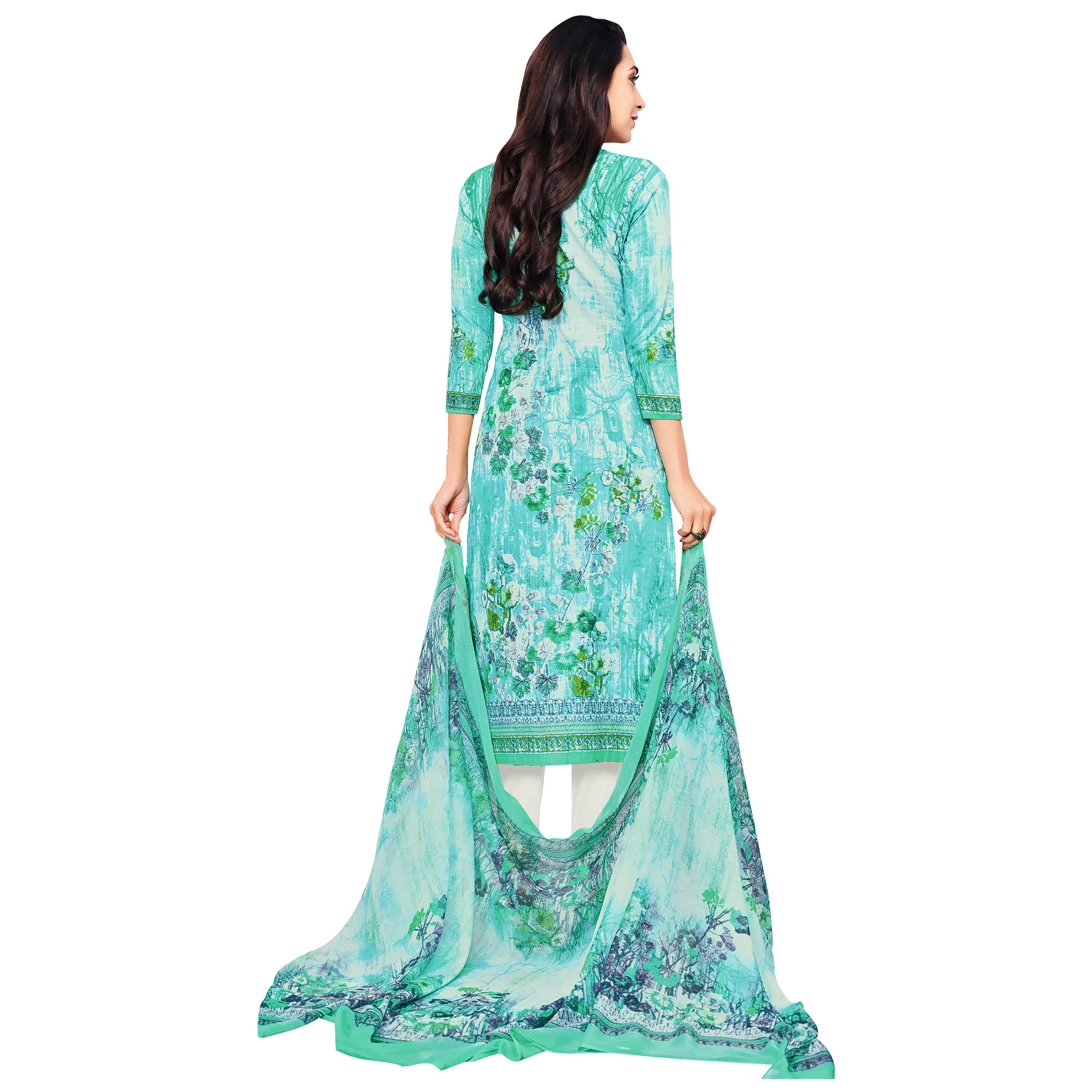 Desiring Aqua Blue Colored Casual Printed Pure Cotton Dress Material