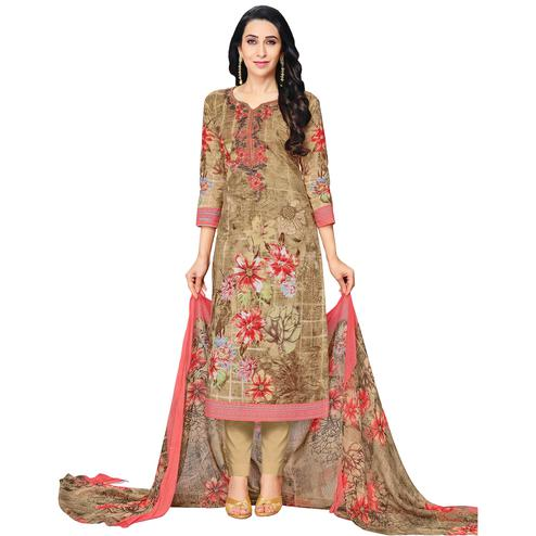 Pleasant Beige Colored Casual Printed Pure Cotton Dress Material