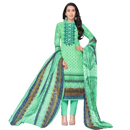 Majestic Aqua Green Colored Casual Printed Pure Cotton Dress Material