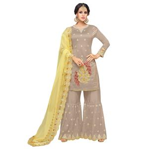 Amazing Chiku Colored Partywear Embroidered Muslin Silk Palazzo Suit