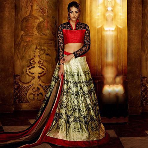 Pastel Green - Red Raw Silk Lehenga