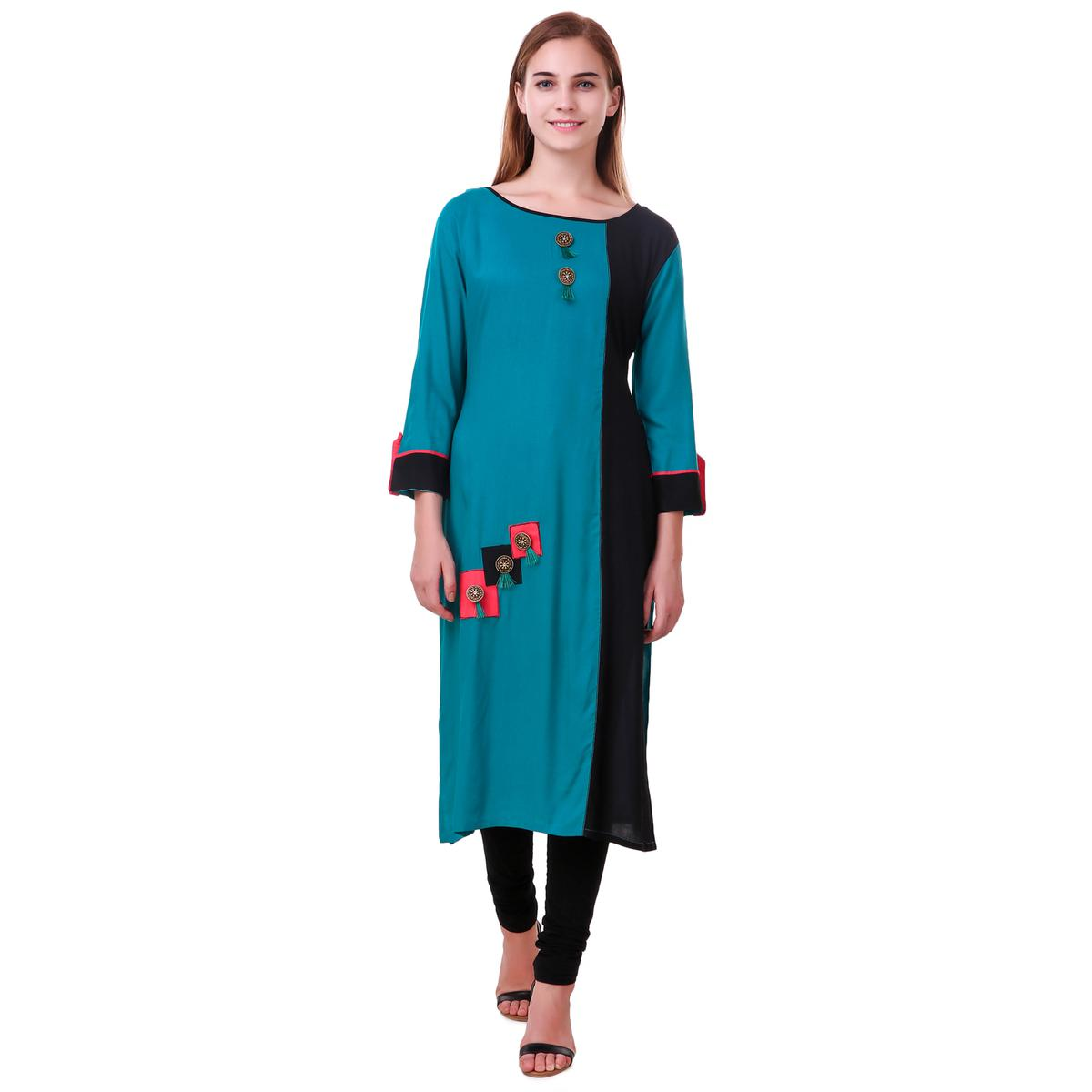 Stylish Sky Blue-Black Colored Casual Wear Rayon Kurti