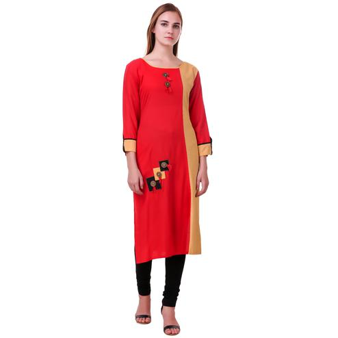 Glowing Red-Beige Colored Casual Wear Rayon Kurti