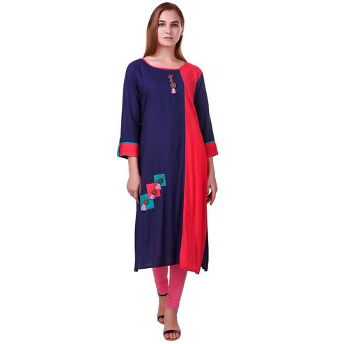 Pretty Purple-Red Colored Casual Wear Rayon Kurti