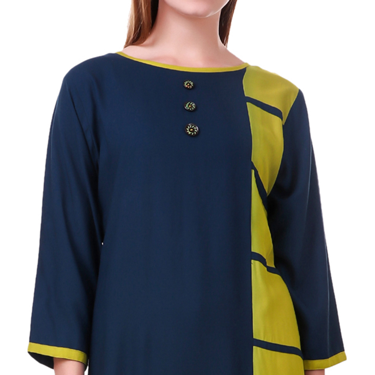 Lovely Navy Blue-Green Colored Casual Wear Rayon Kurti