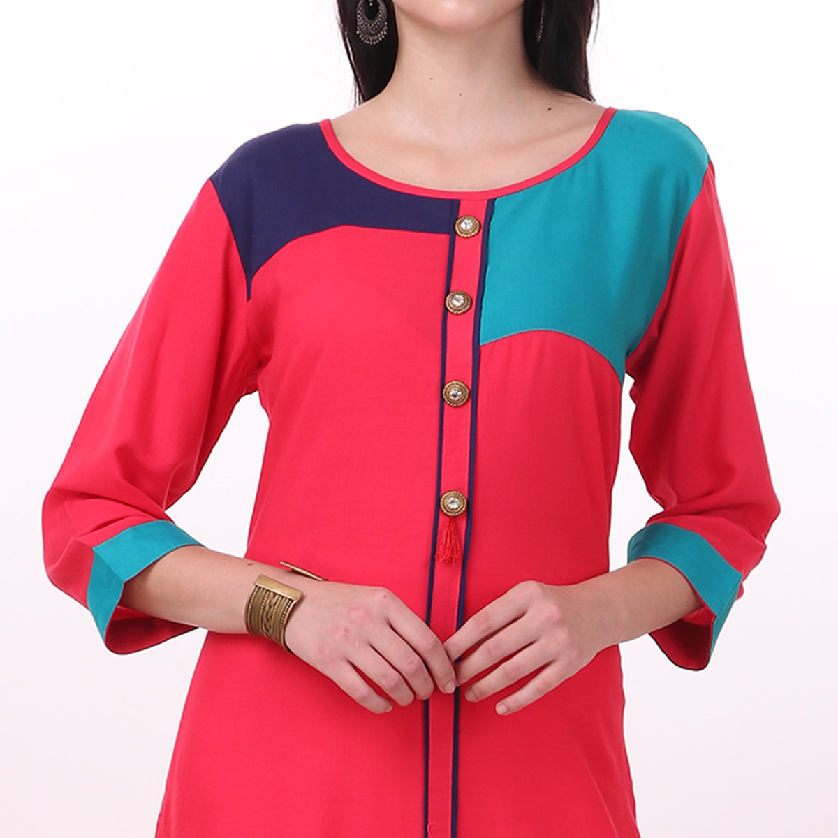 Beautiful Red Colored Casual Wear Rayon Kurti