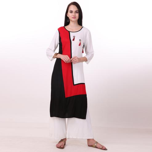 Classy Multi Colored Casual Wear Rayon Kurti