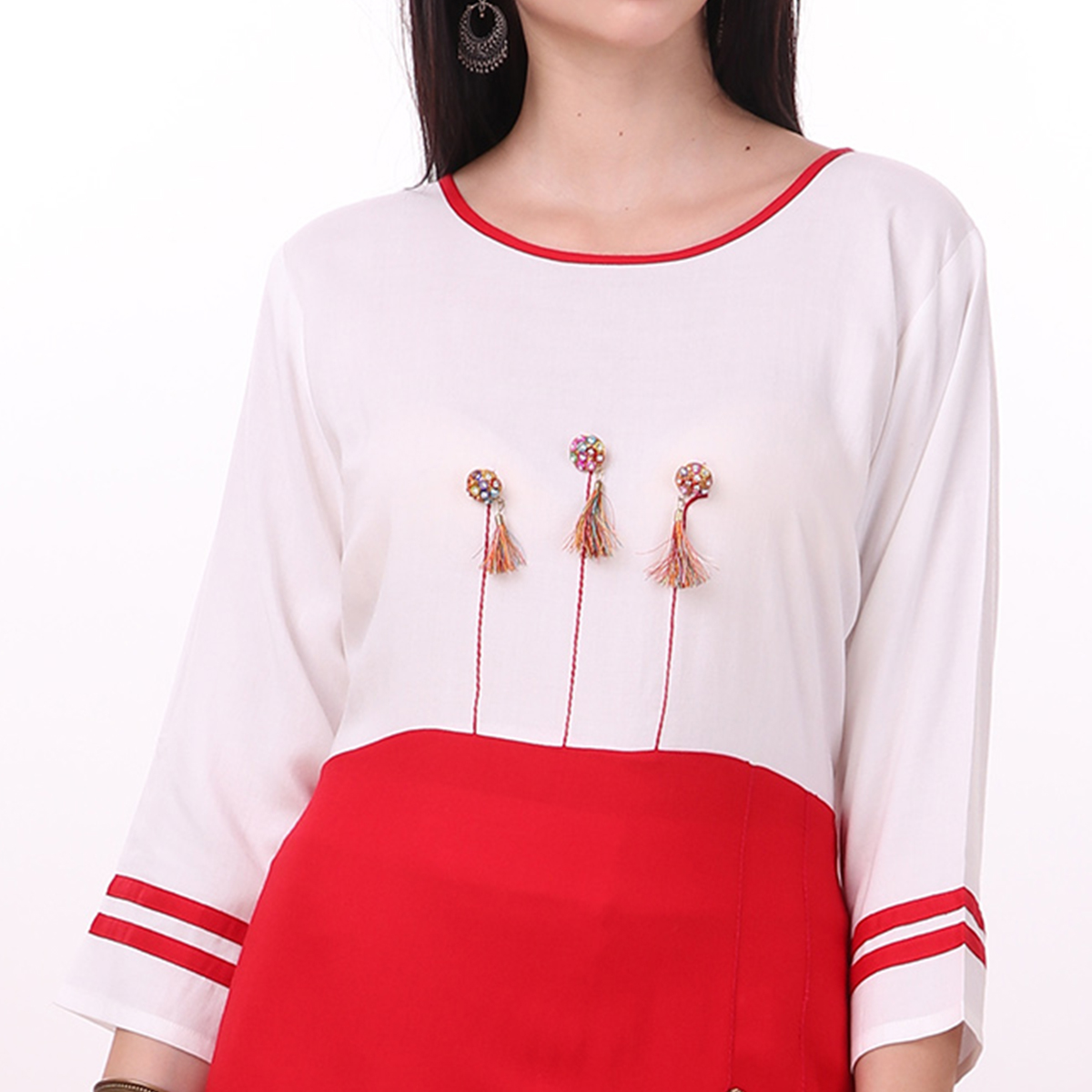 Eye-Catching White-Red Colored Casual Wear Rayon Kurti