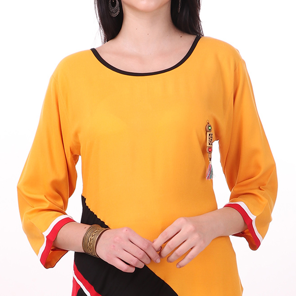 Unique Yellow-Red Colored Casual Wear Rayon Kurti