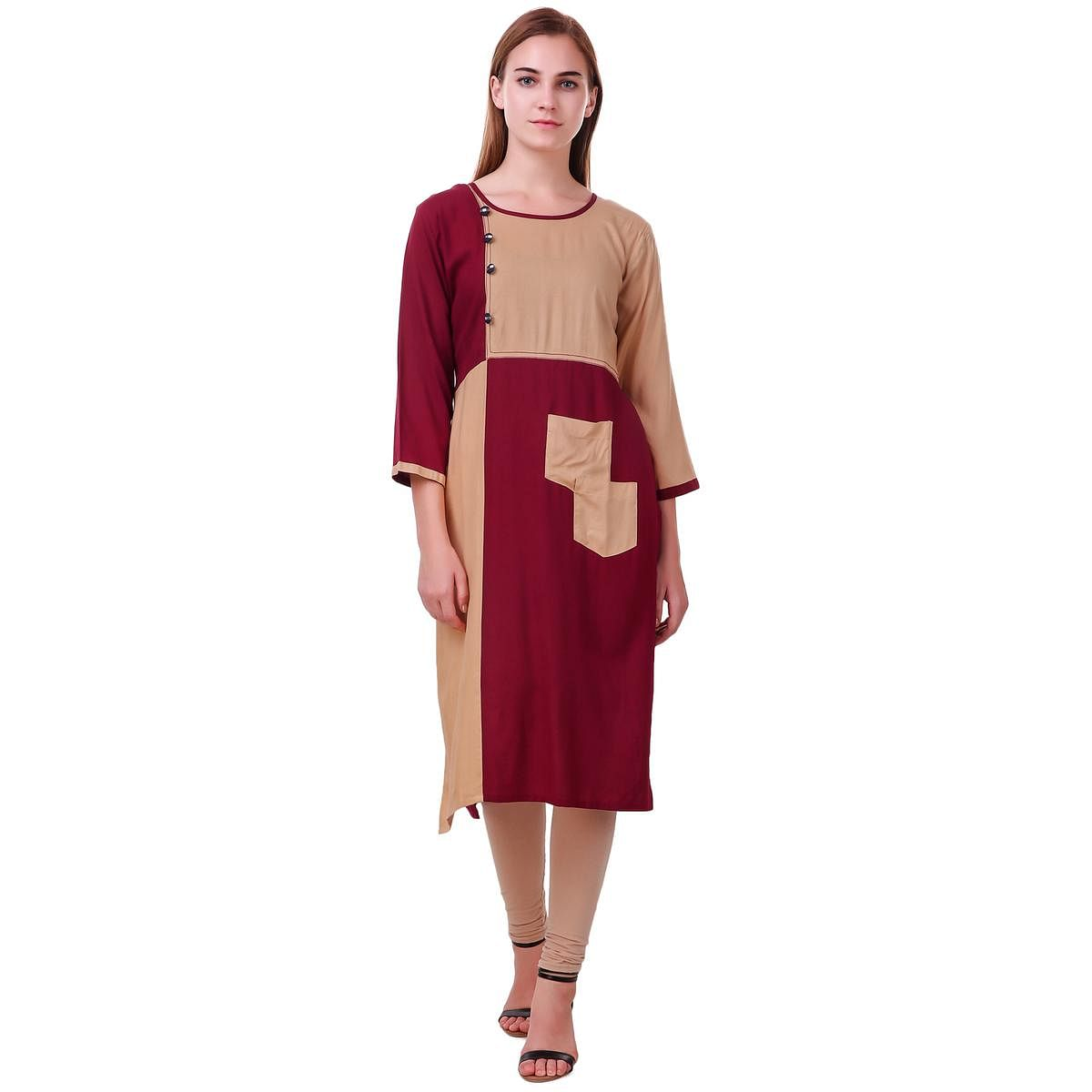 Jazzy Maroon-Beige Colored Casual Wear Rayon Kurti