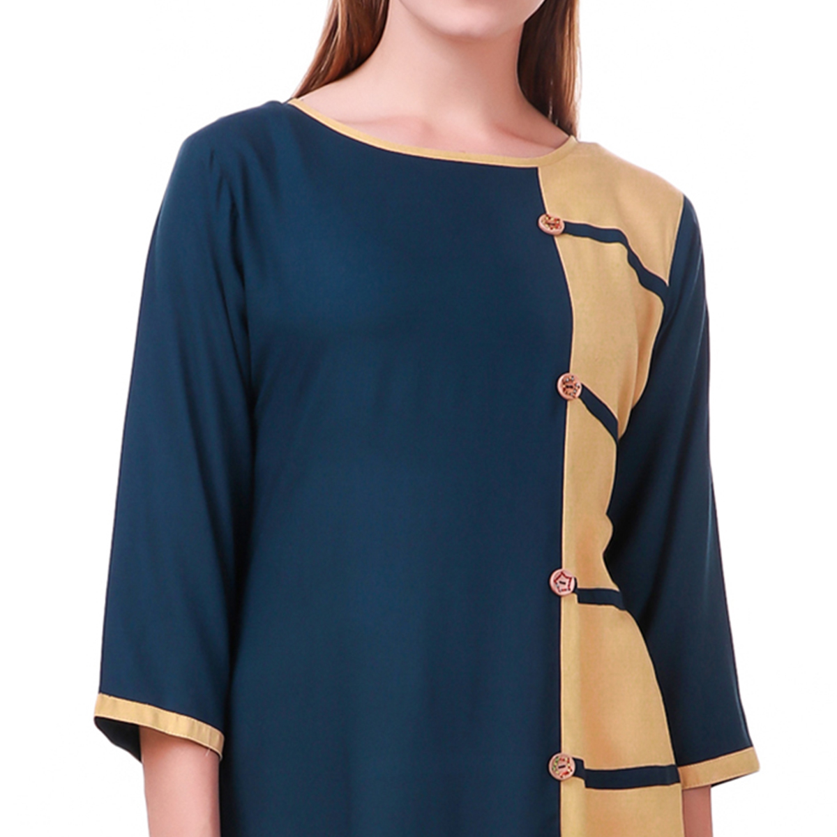 Impressive Navy Blue-Beige Colored Casual Wear Rayon Kurti