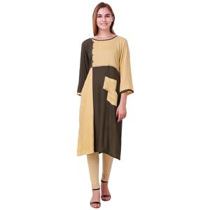 Groovy Beige-Brown Colored Casual Wear Rayon Kurti