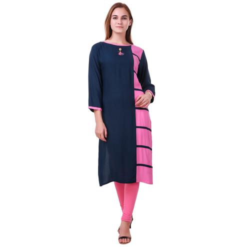 Staring Navy Blue-Pink Colored Casual Wear Rayon Kurti