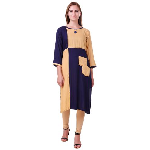 Flattering Purple-Beige Colored Casual Wear Rayon Kurti