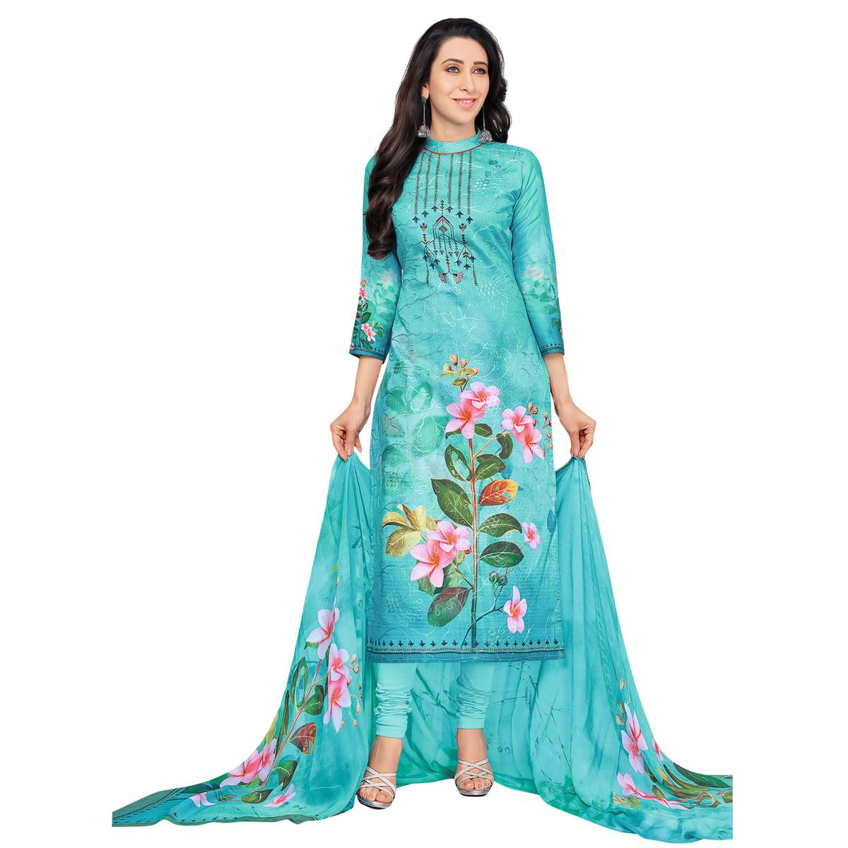 Blooming Blue Colored Casual Wear Digital Printed Pure Cotton Dress Material