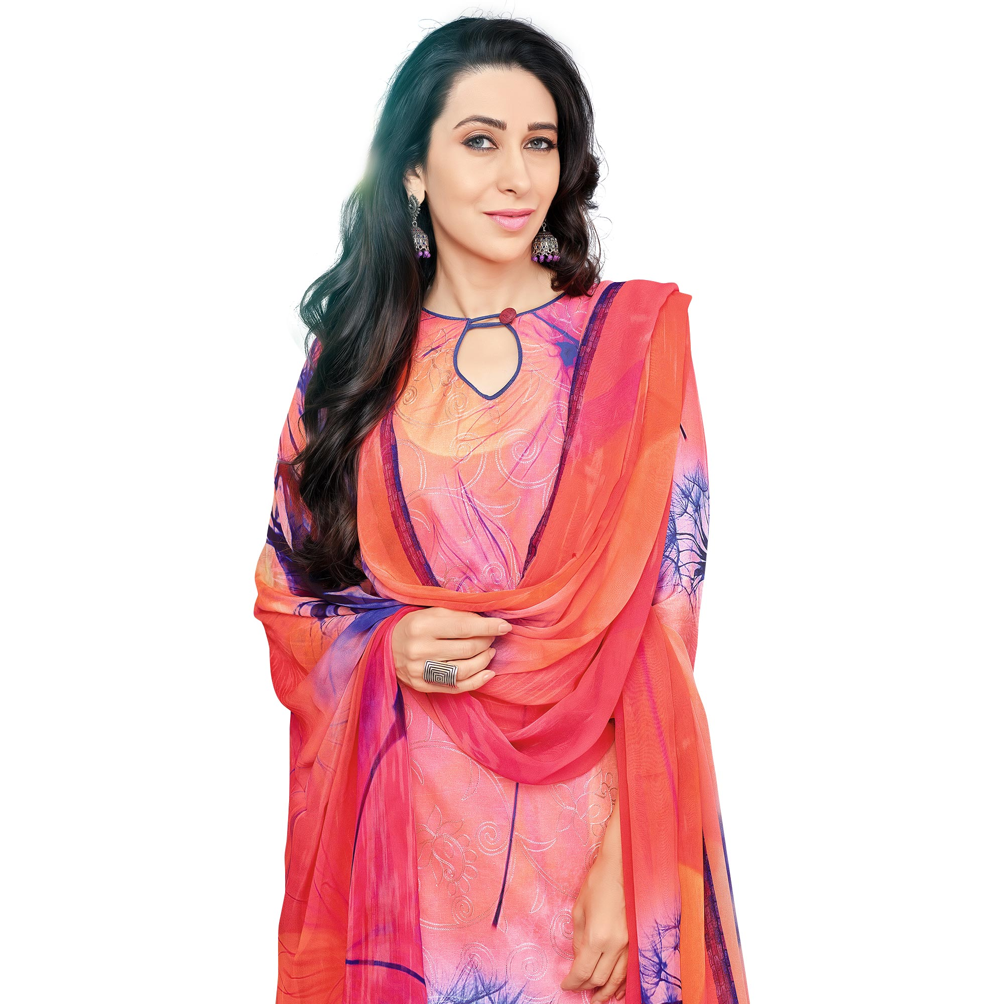Precious Pink Colored Casual Wear Digital Printed Pure Cotton Dress Material