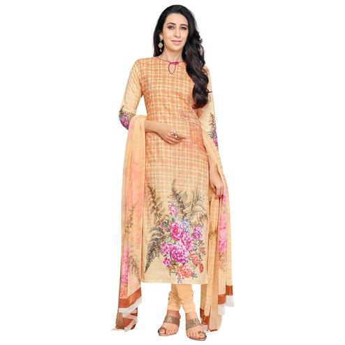 Adorning Peach Colored Casual Wear Digital Printed Pure Cotton Dress Material