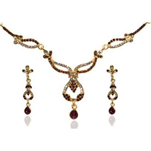 Purple Austrian Stone Gold Plated Necklace Set