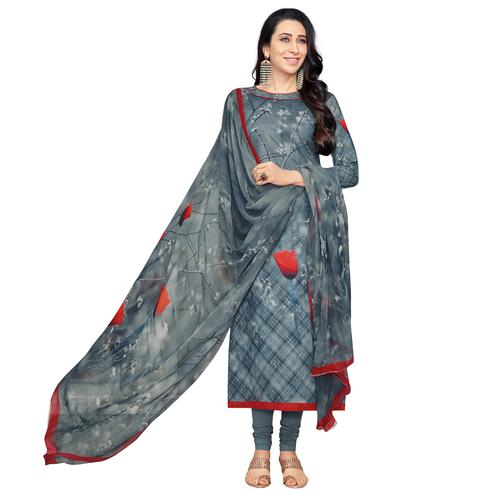 Graceful Grey Colored Casual Wear Digital Printed Pure Cotton Dress Material