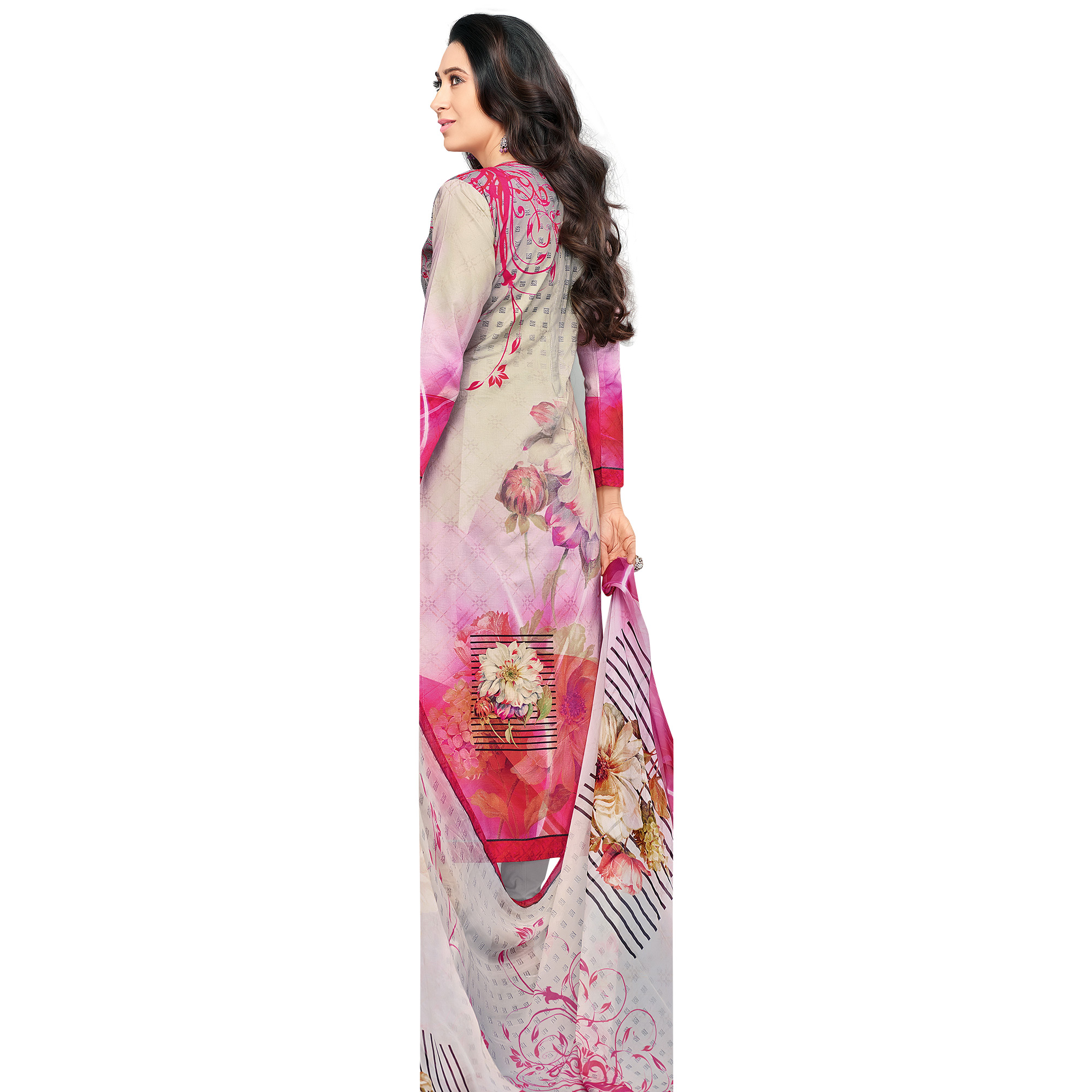 Pretty Pink Colored Casual Wear Digital Printed Pure Cotton Dress Material