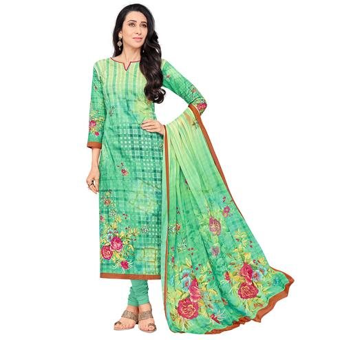 Elegant Green Colored Casual Wear Digital Printed Pure Cotton Dress Material