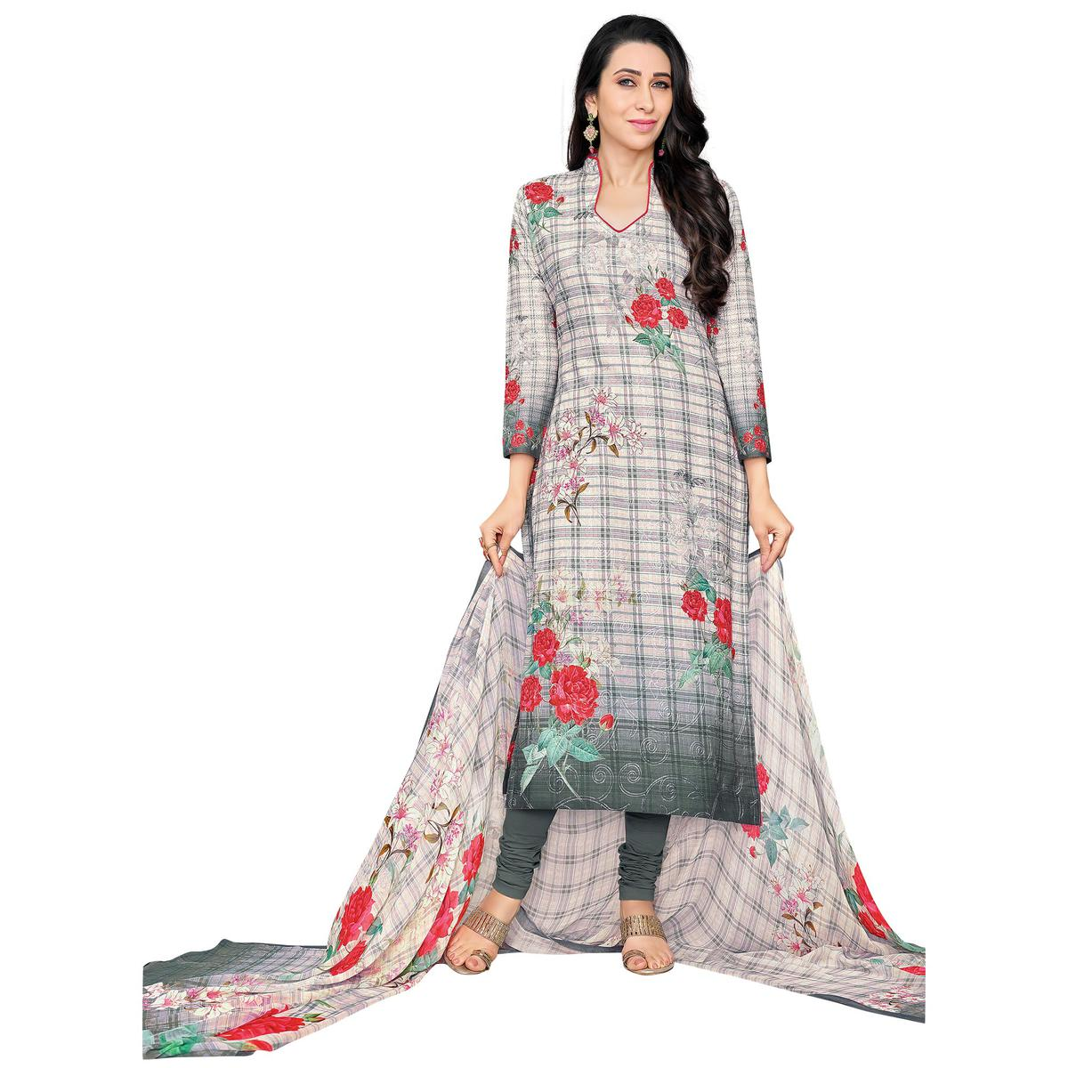 Glorious Grey Colored Casual Wear Digital Printed Pure Cotton Dress Material