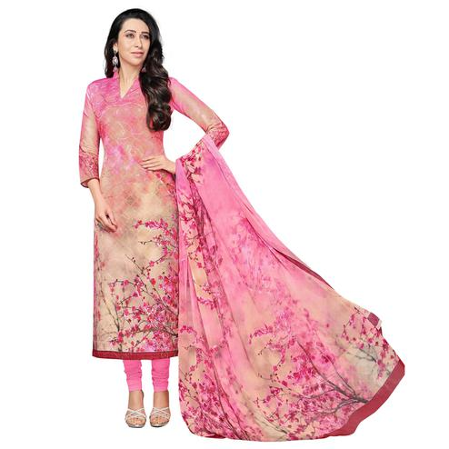 Charming Pink Colored Casual Wear Digital Printed Pure Cotton Dress Material