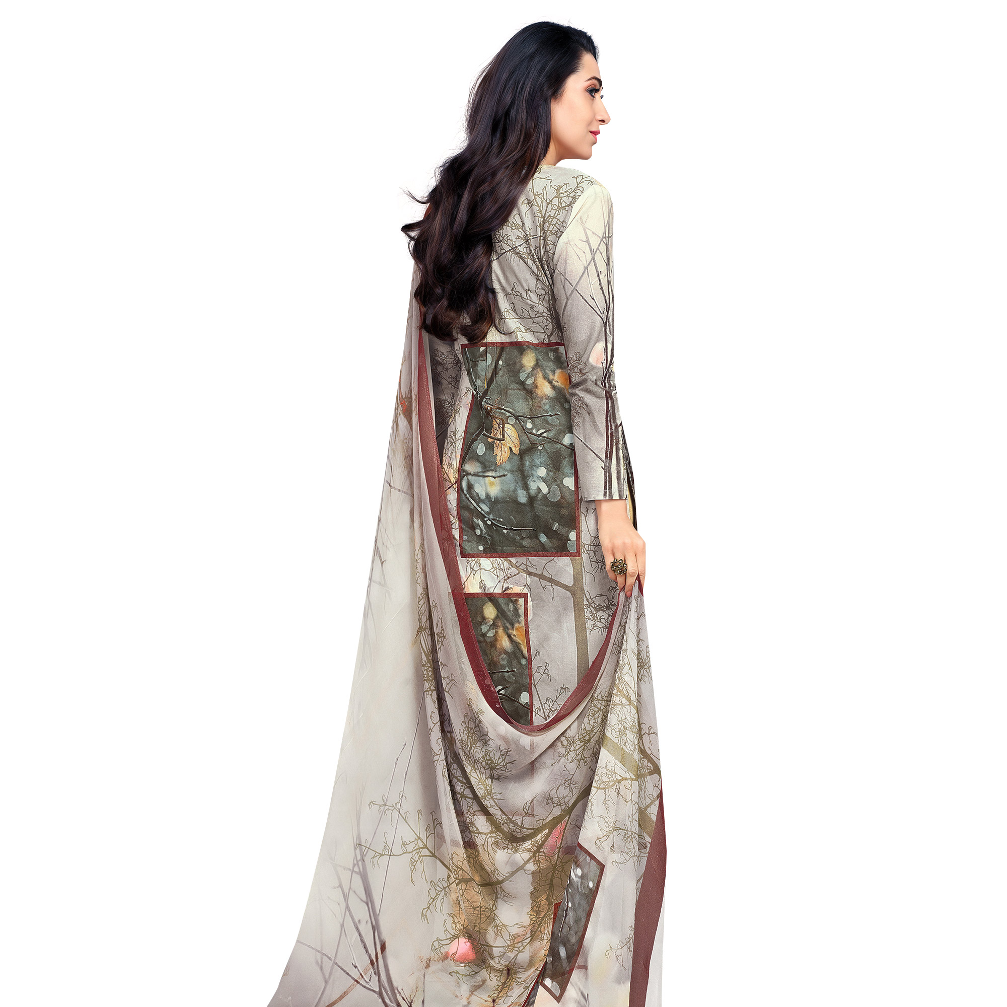 Adorable Grey Colored Casual Wear Digital Printed Pure Cotton Dress Material