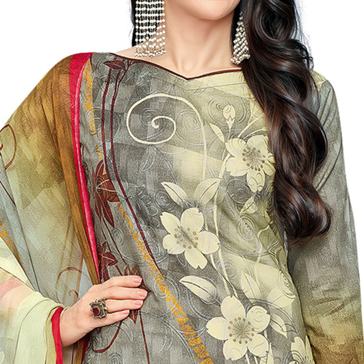 Sizzling Grey Colored Casual Wear Digital Printed Pure Cotton Dress Material