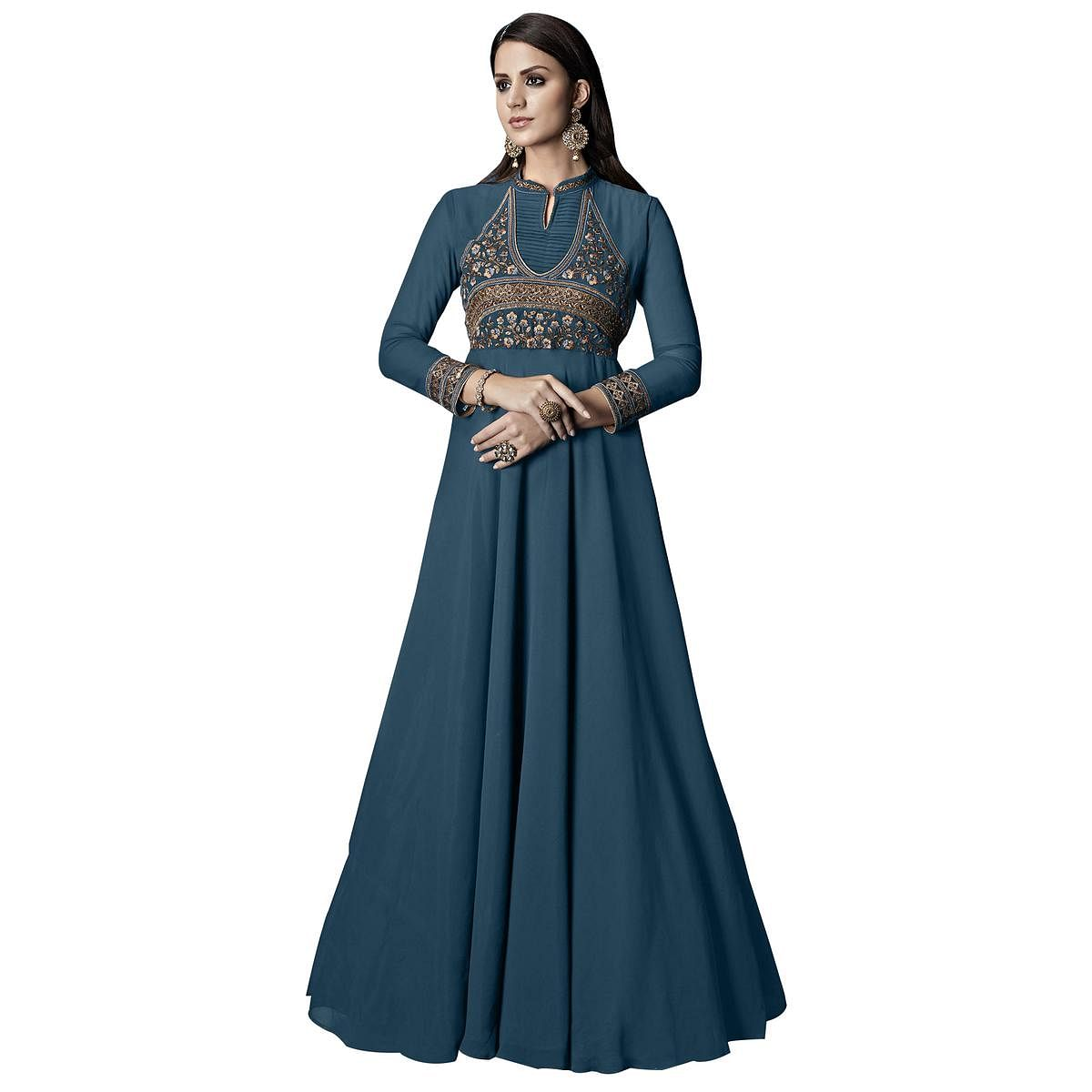 Mesmerising Pastel Blue Colored Partywear Embroidered Georgette Anarkali Suit