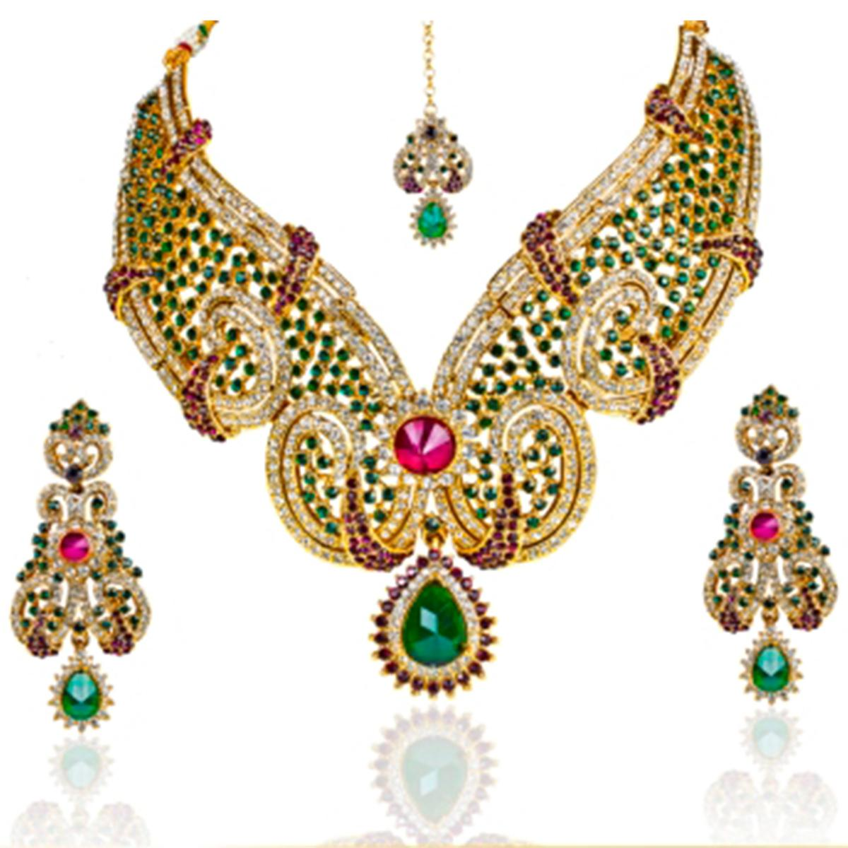 Purple & Green Austrian Stone Gold Plated Necklace Sets With Maang Tikka