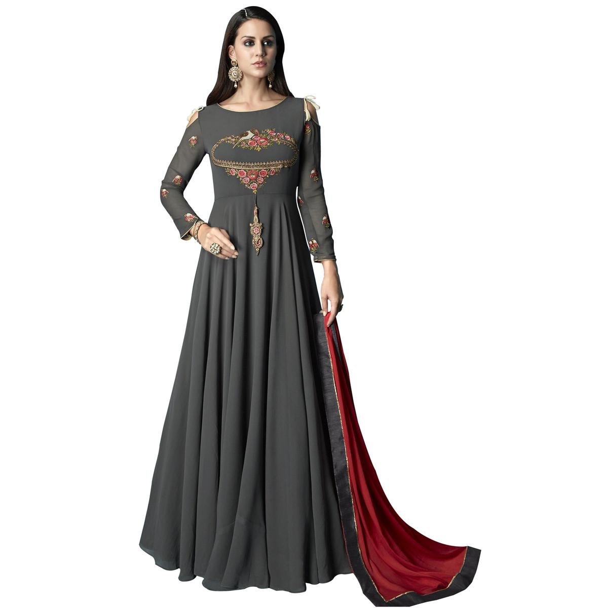 Trendy Gray Colored Partywear Embroidered Georgette Anarkali Suit