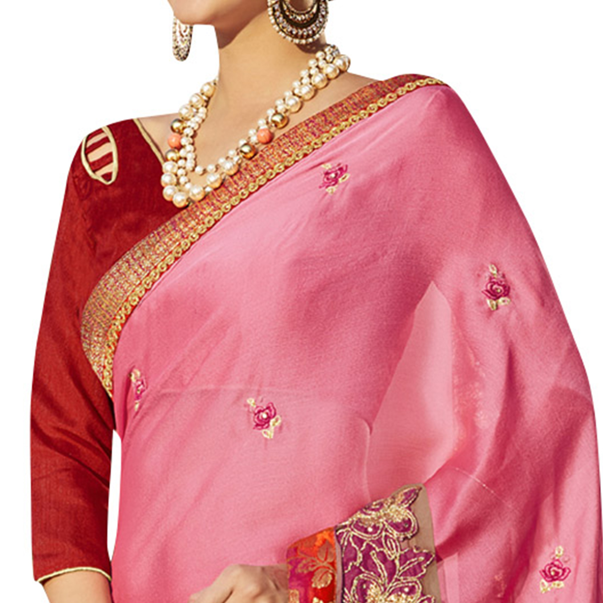 Adorable Pink Colored Party Wear Embroidered Georgette Saree