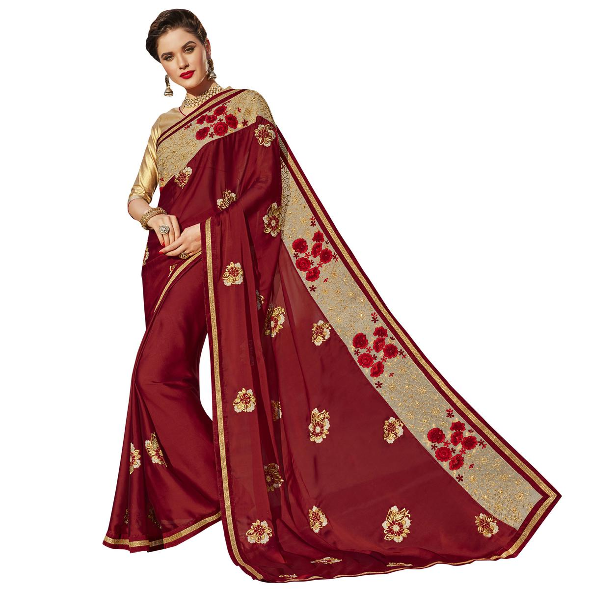 Magical Maroon Colored Party Wear Embroidered Georgette Saree