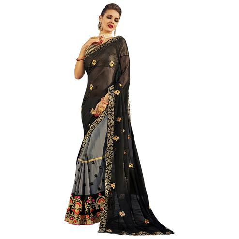 Pretty Black Colored Party Wear Embroidered Georgette Saree