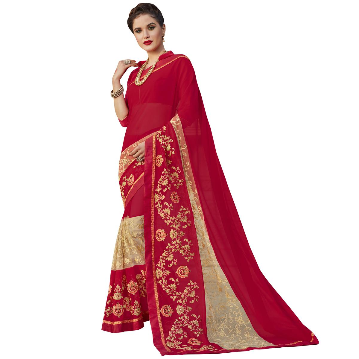 Ravishing Red Colored Party Wear Embroidered Georgette Saree