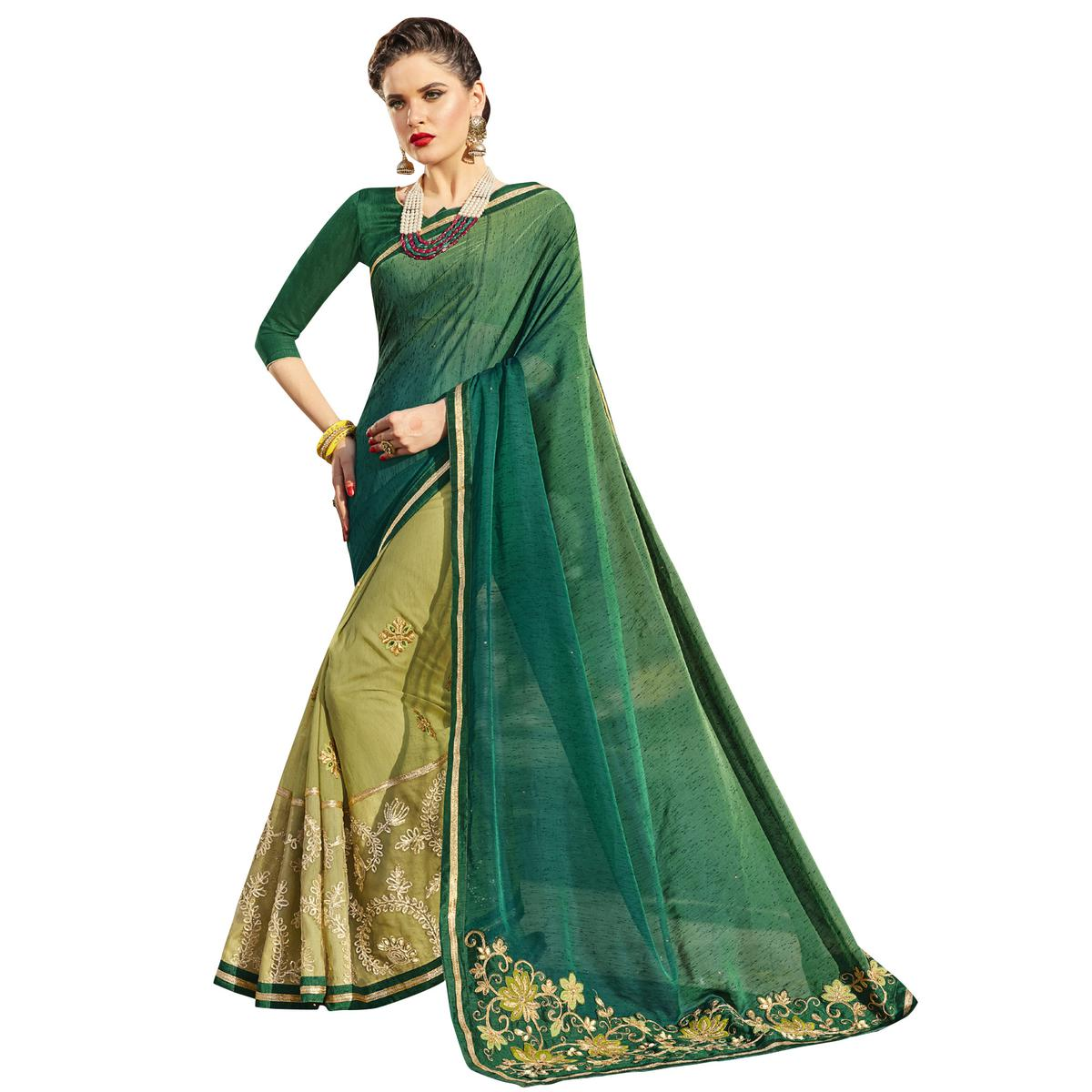 Elegant Green Colored Party Wear Embroidered Georgette Saree