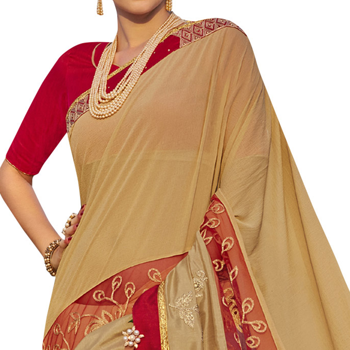 Classic Beige Colored Party Wear Embroidered Georgette Saree