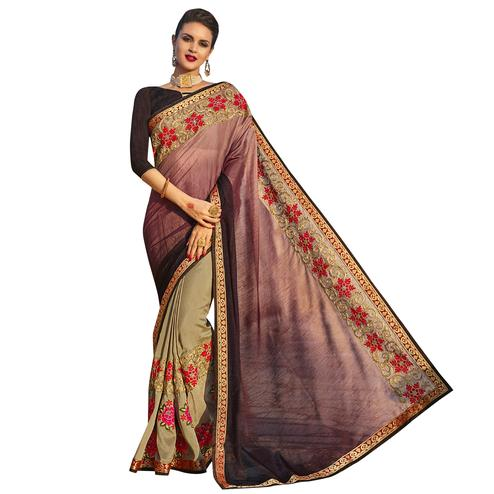 Vivid Wine-Beige Colored Party Wear Embroidered Georgette Saree