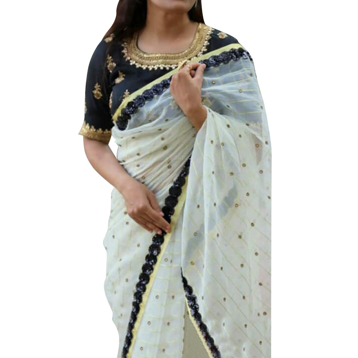 Blooming White Colored Partywear Embroidered Chanderi Silk Saree