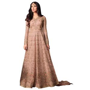 Innovative Light Pink Colored Partywear Heavy Embroidered Net Anarkali Suit