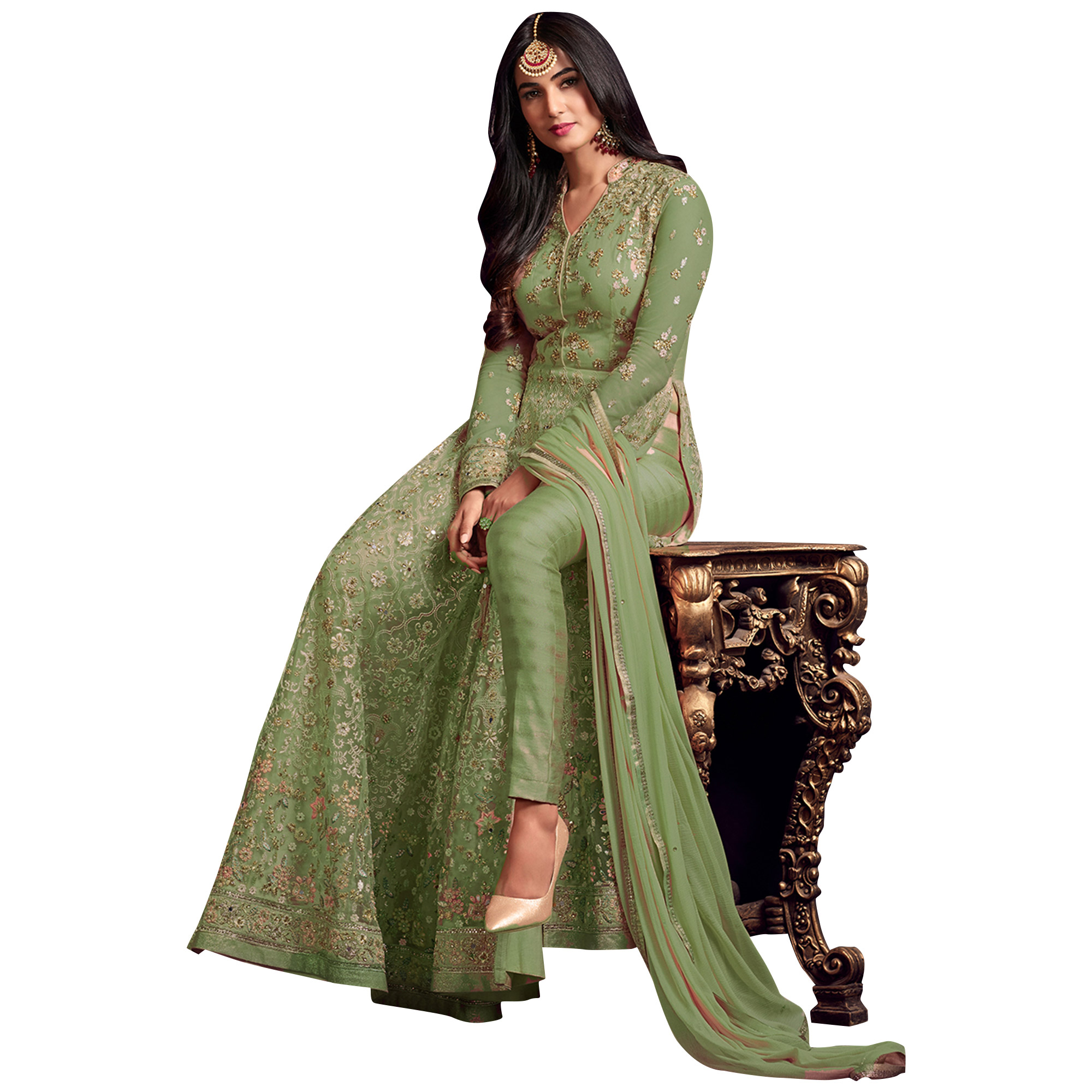 Impressive Green Colored Partywear Heavy Embroidered Net Anarkali Suit