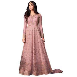 Arresting Pink Colored Partywear Heavy Embroidered Net Anarkali Suit