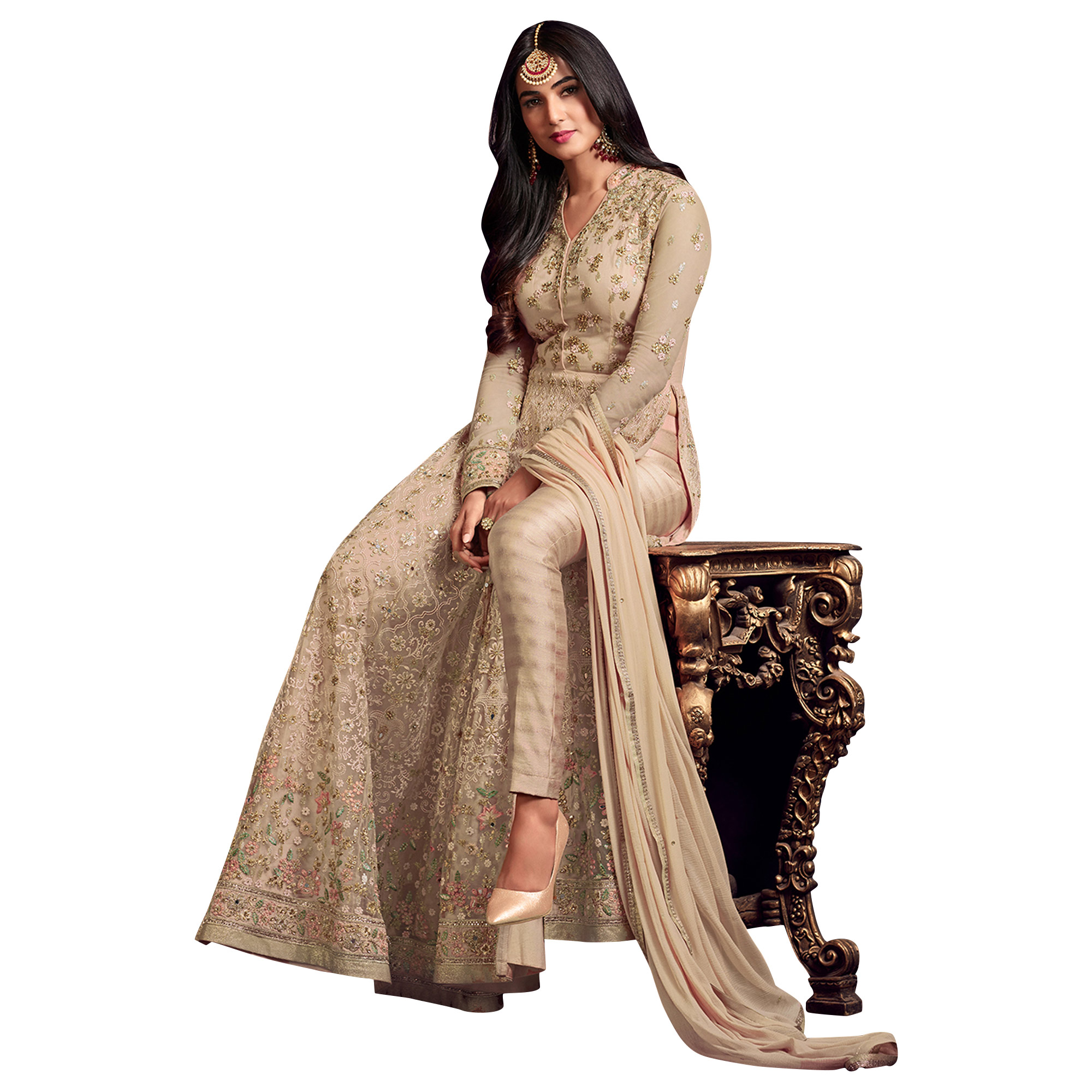 Hypnotic Light Gray Colored Partywear Heavy Embroidered Net Anarkali Suit