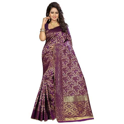 Pretty Purple Colored Festive Wear Woven Kanjivaram Art Silk Saree