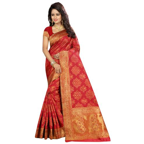 Adorning Red Colored Festive Wear Woven Kanjivaram Art Silk Saree