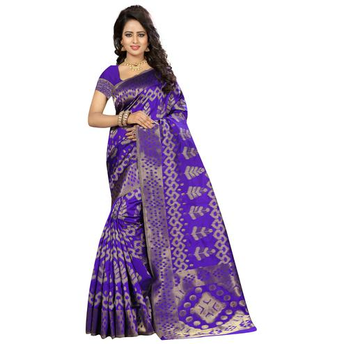Beautiful Violet Colored Festive Wear Woven Kanjivaram Art Silk Saree